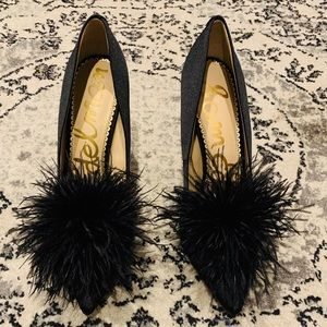 Sam Edelman Black Feather Pumps - Size 8.5